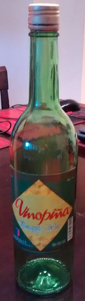 Fruit wine - Bottle of pineapple wine from Dominican Republic