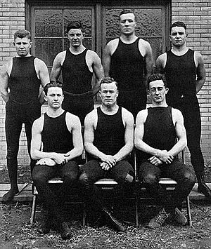 Pittsburgh Panthers wrestling - The 1914–1915 Pitt wrestling team included All-American football star and future legendary Pitt head football coach Jock Sutherland (top row, second from right)