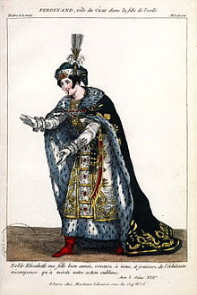 Costume sketch for the actor Ferdinand in the rôle of the Tsar in LaFille de l'exilé, given at the Théâtre de la Gaîté, 13 March 1819 (Source: Wikimedia)