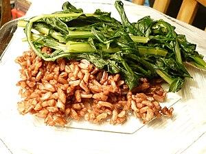 Taraxacum officinale - Plate of sauteed dandelion greens, with Wehani rice