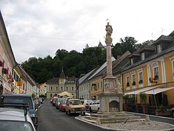 Main square with plague column