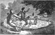 An 1880 sketch of a man pulling another man away from fairies that are dancing in a circle
