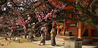 Shinto shrine - Two women praying in front of a shrine