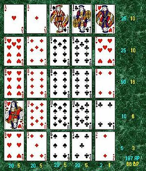 The end of a game of Poker Solitaire. The blue...