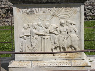 Pompeii Temple of Vespasian altar closeup 2.jpg