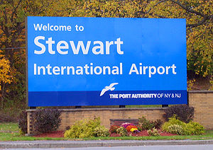 Stewart International Airport - New sign at entrance on NY 207 reflecting Port Authority takeover