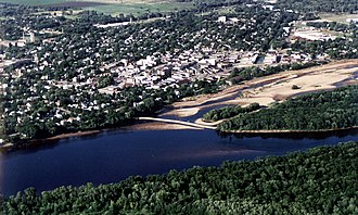 Fox–Wisconsin Waterway - Aerial view of Portage, Wisconsin. The western end of the Portage Canal is visible at the upper right in the picture.