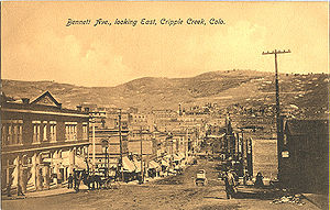 Cripple Creek, Colorado - Looking east on Bennett Avenue, early 20th century