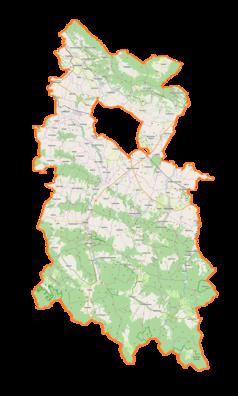 """Mapa konturowa powiatu krośnieńskiego, u góry nieco na prawo znajduje się punkt z opisem """"Czarnorzeki"""""""