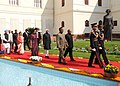 Pratibha Devisingh Patil being led in a ceremonial procession to the Central Hall of Parliament House to address the Members of both the Houses of Parliament on Budget Session, in New Delhi on February 22, 2010.jpg