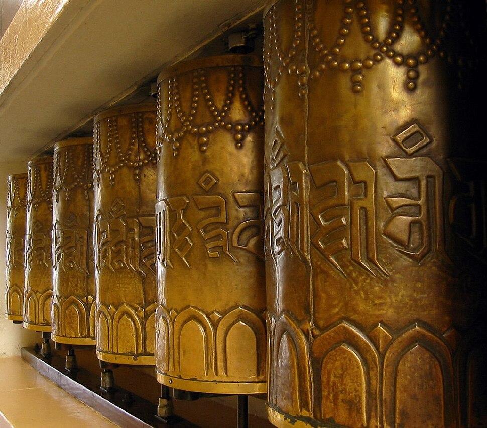 Prayer wheels, surrounding the Tsuglagkhang Temple in McLeod Ganj