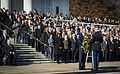 President Barack H. Obama, foreground left, positions a commemorative wreath during a Veterans Day ceremony Nov. 11, 2013, at the Tomb of the Unknowns at Arlington National Cemetery in Arlington, Va 131111-A-EE013-002.jpg