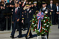 President Barack Obama, left foreground, walks with U.S. Army Maj. Gen. Jeffrey S. Buchanan, center foreground, the commander of the U.S. Army Military District of Washington, at the Tomb of the Unknowns 131111-D-DB155-009.jpg