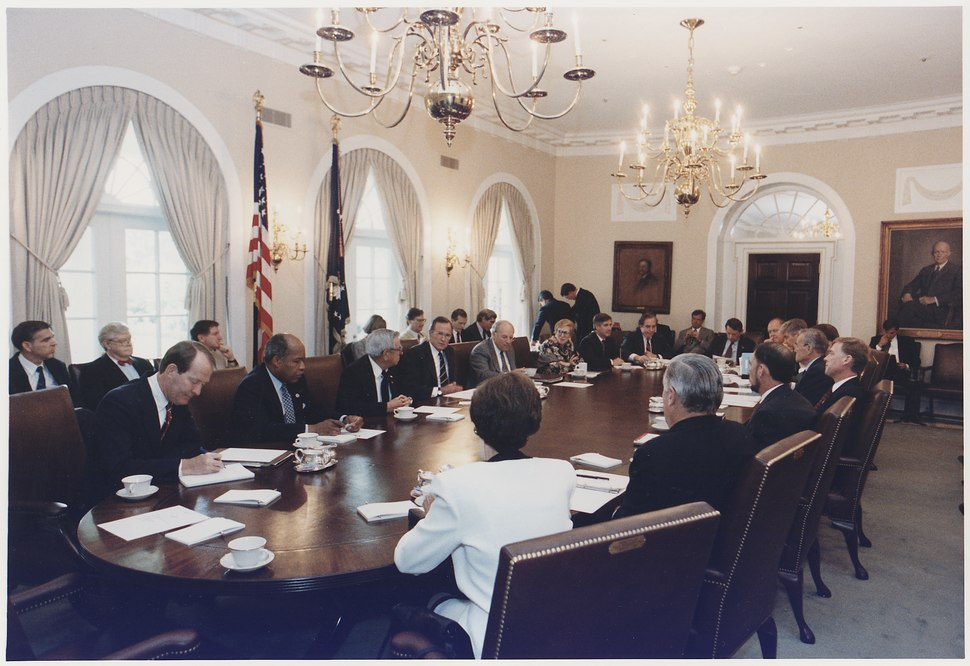 President Bush participates in a full cabinet meeting in the cabinet room - NARA - 186454