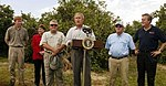 President George W. Bush at McKenna Brothers orange groves in Lake Wales to survey the damage from Hurricane Jeanne.jpg