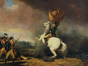 Battle of Princeton - A painting of George Washington rallying his troops at Princeton