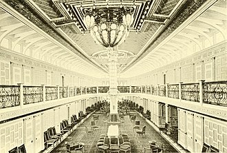 Fall River Line - Image: Priscilla (steamship) main saloon looking aft from main staircase
