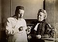 Professor and Mrs Dejerine looking at a microscopic sample Wellcome V0018974.jpg