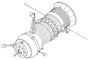 Salyut 6 EO-1 - A drawing of the Progress 7K-TG spacecraft, the first of which, Progress 1, resupplied the EO-1 crew.