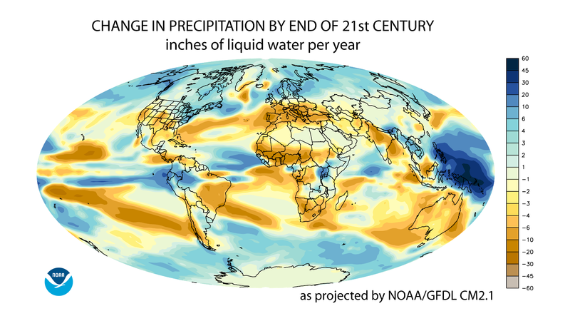 File:Projected change in annual average precipitation for the 21st century, based on the SRES A1B emissions scenario, and simulated by the GFDL CM2.1 model