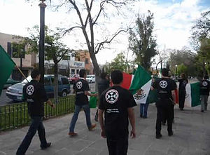 Nationalist Front of Mexico - Supporters of the Nationalist Front of Mexico and other far-right protesters in Mexico City, 2010.