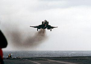 RF-4B VMFP-3 approaching USS Midway (CV-41) 1983.JPEG