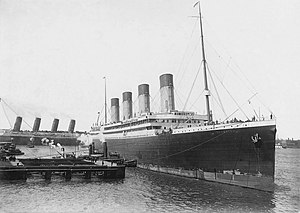 Four funnel liner - RMS Olympic and RMS Lusitania (background)