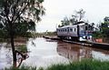RM 1901 crosses a swollen Condamine River on the Glenmorgan line south of Dalby, ~1991.jpg