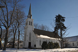 First Reformed Church, built 1856, at the heart of the Rocky Hill Historic District