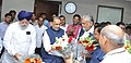 Radha Mohan Singh welcoming the Minister of State for Agriculture & Farmers Welfare and Panchayati Raj, Shri Parshottam Rupala, the Minister of State for Agriculture & Farmers Welfare and Parliamentary Affairs.jpg