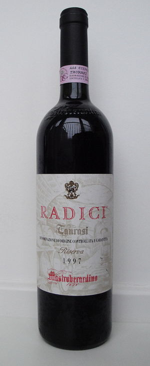 Taurasi DOCG - A bottle of Taurasi Riserva from producer Mastroberardino