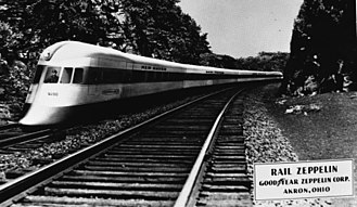 "Goodyear Aerospace - Postcard showing a ""Rail Zeppelin"" Goodyear Zeppelin Corporation, Akron Ohio"