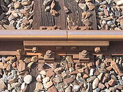 Bolted rail connection and tie-down. Also known as a fishplate.