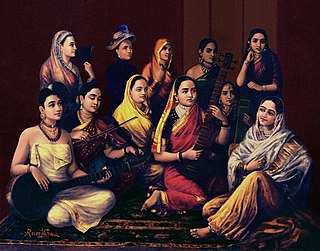 <i>Galaxy of Musicians</i> painting by Raja Ravi Varma