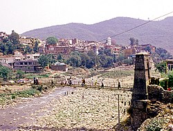 View of old Jhula Bridge at Medina Colony, Rajouri.