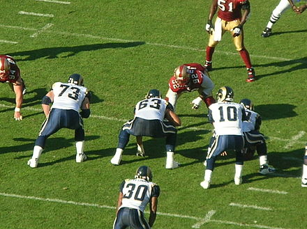 The St. Louis Rams on offense during an away game against the San Francisco 49ers Rams on offense at St. Louis at SF 11-16-08 05.JPG