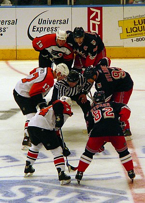 2006–07 Philadelphia Flyers season - The 2006–07 edition of the Philadelphia Flyers (Kyle Calder, Jeff Carter, and Sami Kapanen pictured on the left during a January 4 game against the New York Rangers) holds several dubious franchise records, including most losses, fewest points, fewest home wins, and three different losing/winless streaks.