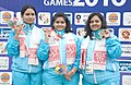 Rani Sarnobat of India won Gold Medal, Annuraj Singh of India won Silver Medal and Anisa of India won Bronze Medal in Women's 25m Air Pistol Shooting, at the 12th South Asian Games-2016, in Guwahati on February 13, 2016.jpg