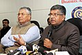 Ravi Shankar Prasad addressing a press conference on the initiatives taken by the Ministry on popularising cashless transections, in New Delhi.jpg