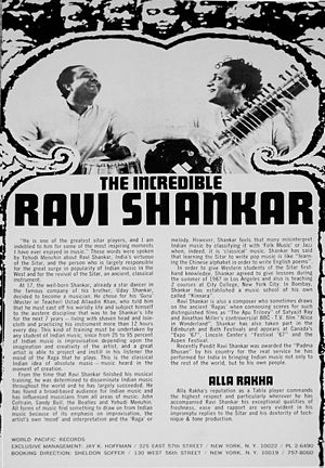 Alla Rakha - Flyer for an October 1967 concert by Shankar and Rakha (left), held four months after their performance at the Monterey Pop Festival