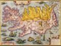 Ravnkel Frøjsgodes Saga, Kort over Island 1590..PNG
