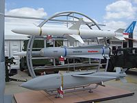 Raytheon missiles on display at the Paris Air Show, 2005