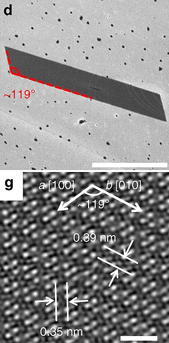 Rhenium diselenide - d: SEM micrograph of a typical parallelogram-shaped ReSe2 flake, scale bar 1 µm.  g: top view of the ReSe2 atomic lattice