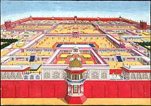 Painting of large fort, seen from above