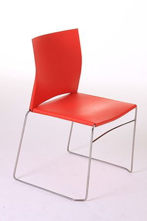 Polypropylene red chair with stainless steel s...