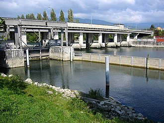 Port, Switzerland - Regulation dam and the Nidau-Büren Canal