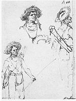 Rembrandt Three studies of a bowman.jpg