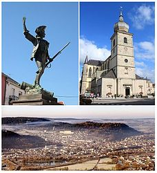 Clockwise from top-left: Statue of the Volunteer of 1792, Remiremont Abbey, a panorama of Remiremont seen from Saint-Mont