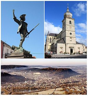 Remiremont - Clockwise from top-left: Statue of the Volunteer of 1792, Remiremont Abbey, a panorama of Remiremont seen from Saint-Mont