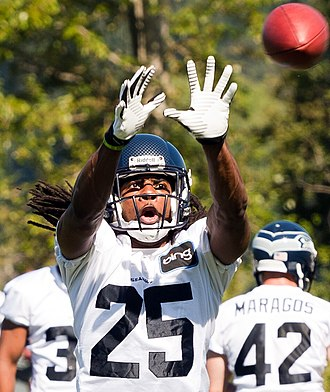 Richard Sherman (American football) - Richard Sherman during 2013 Seattle Seahawks training camp.